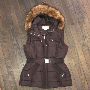 Michael Kors down vest w faux fur trim hood